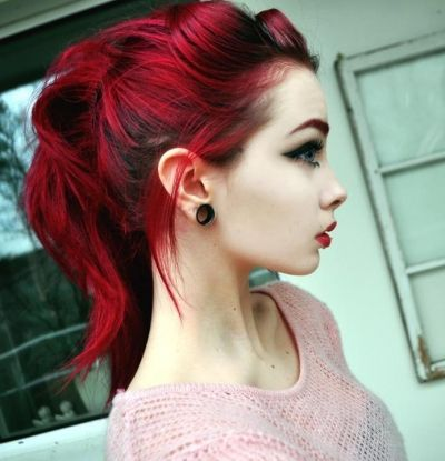 awesome Half-up red messy emo hairstyle