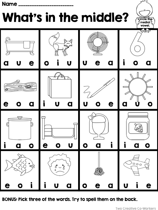 Middle Vowel Sounds Medial Worksheets Printable Books Vowel Worksheets Word Work Kindergarten Vowel Sounds
