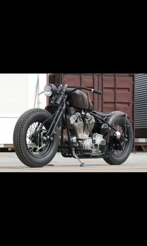 springer forks,wide glide front end | harley ideas | Bobber bikes