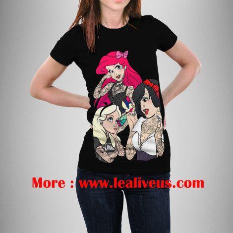 Snow ariel and alice punk tattoos disney princess t for Tattooed ariel shirt
