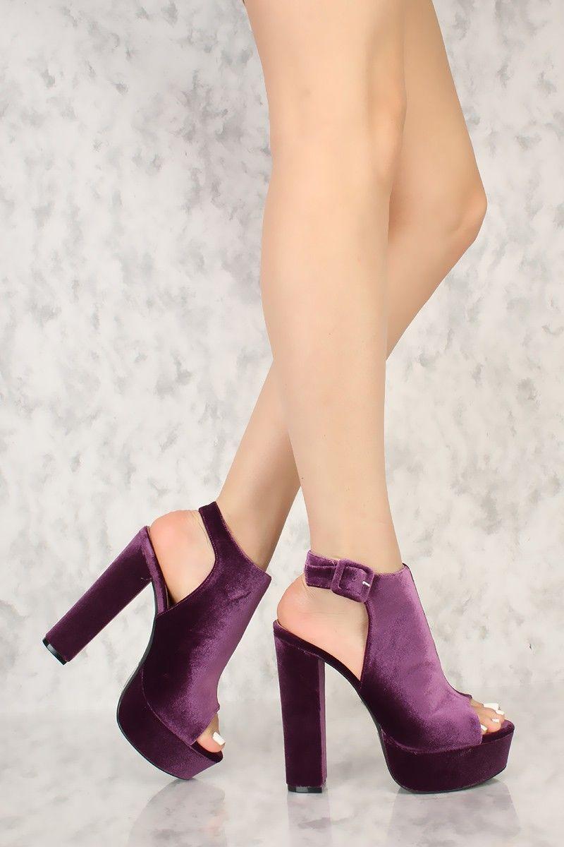 Peep Toe Platform Pump Chunky High Heels Faux Velvet