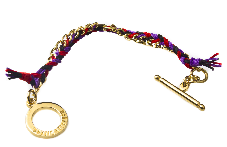 Pulsera de cadena y broche en chapa de oro de k tejida con hilo