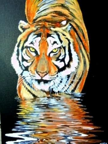 "Tiger at the night watering - original oil painting 11,8""-15,75"" (30 - 40 cm) black stretched canvas wild cat animal by ArtByTatianaZ for $200.00"