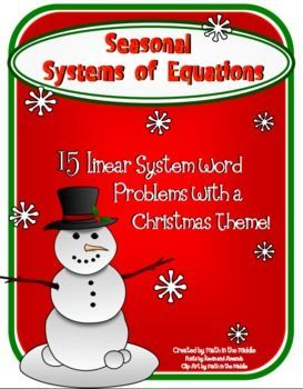 Seasonal Systems Of Equations Word Problems Christmas Math