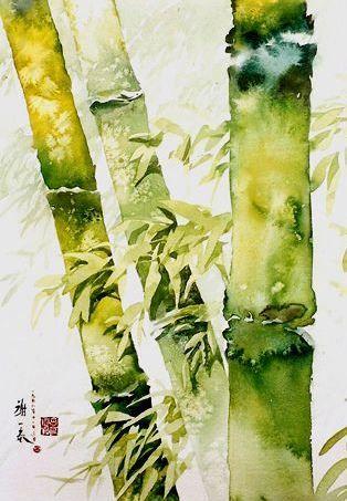 Bambou Aquarelle Japonaise Art De La Couleur Arbres En Aquarelle