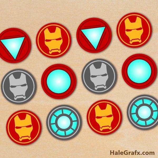 FREE Printable Avengers Iron Man Cupcake Toppers ComicsSuper
