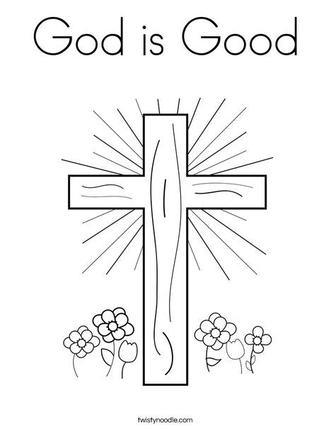 God Is Good Coloring Page Twisty Noodle Cross Coloring Page