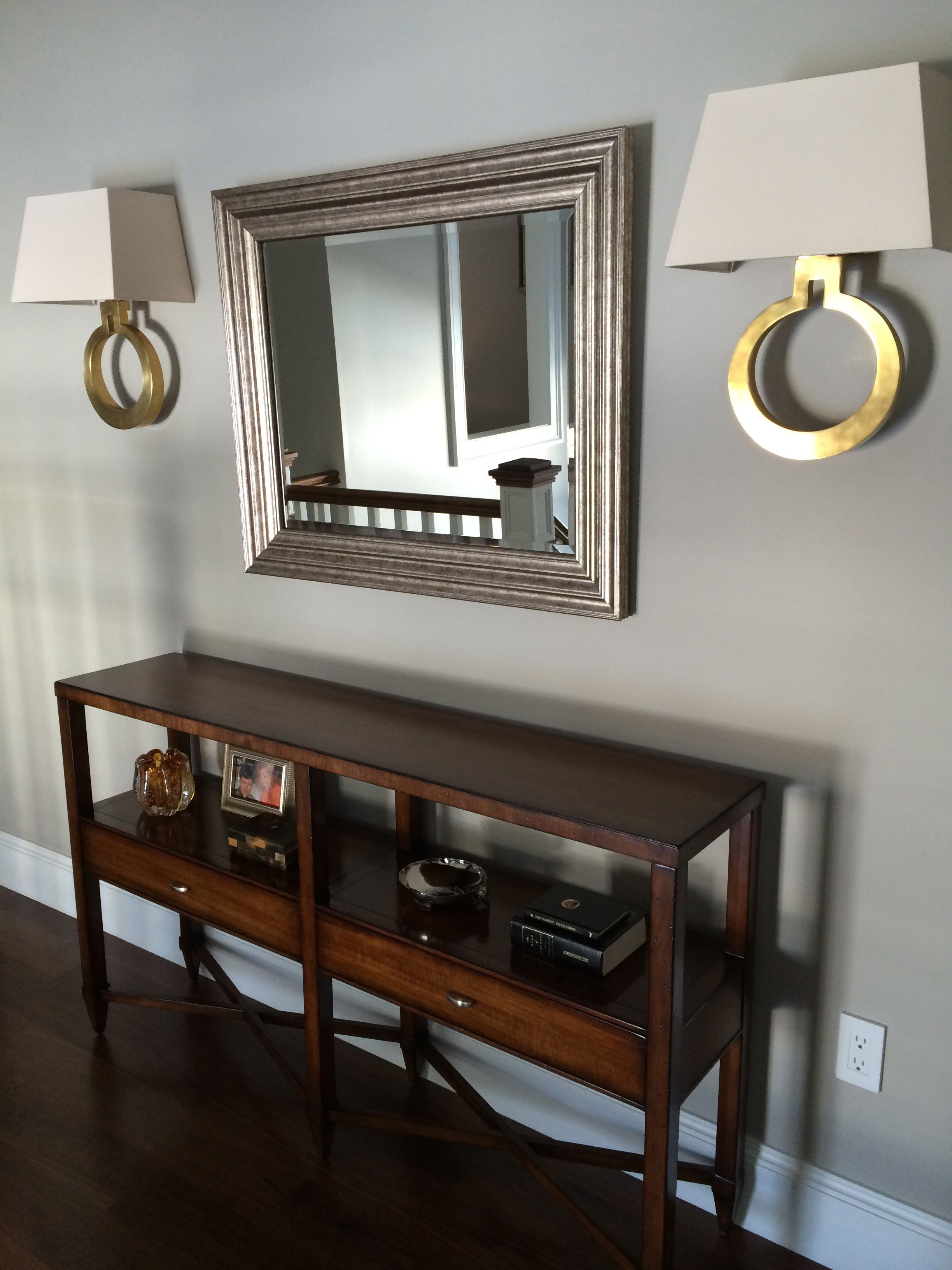 Visual Comfort Ring Form Wall Sconces Used Over A Console Table. Portland,  Maine