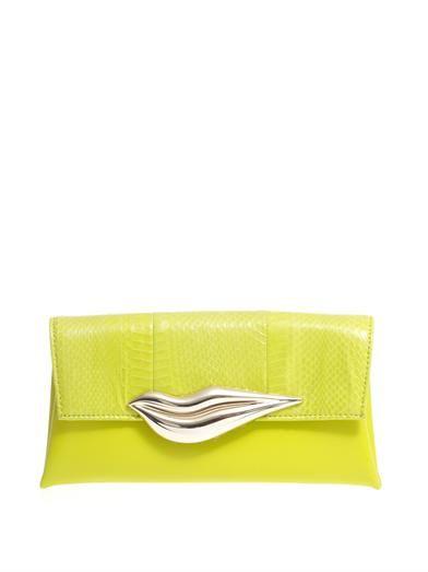 New In: Diane Von Furstenberg water snake and leather clutch at MATCHESFASHION.COM #MATCHESFASHION