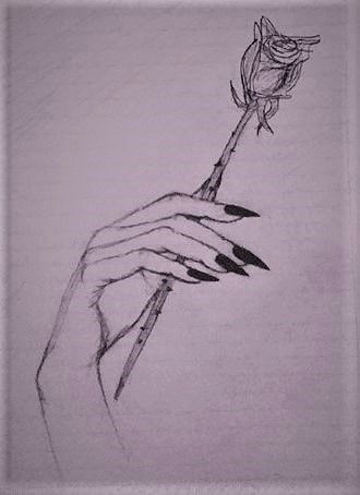 #black #longnails #nails #hand #holding #rose #drawing ...