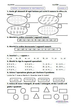 Prove di ingresso matematica classe 2^ | Schede di ...