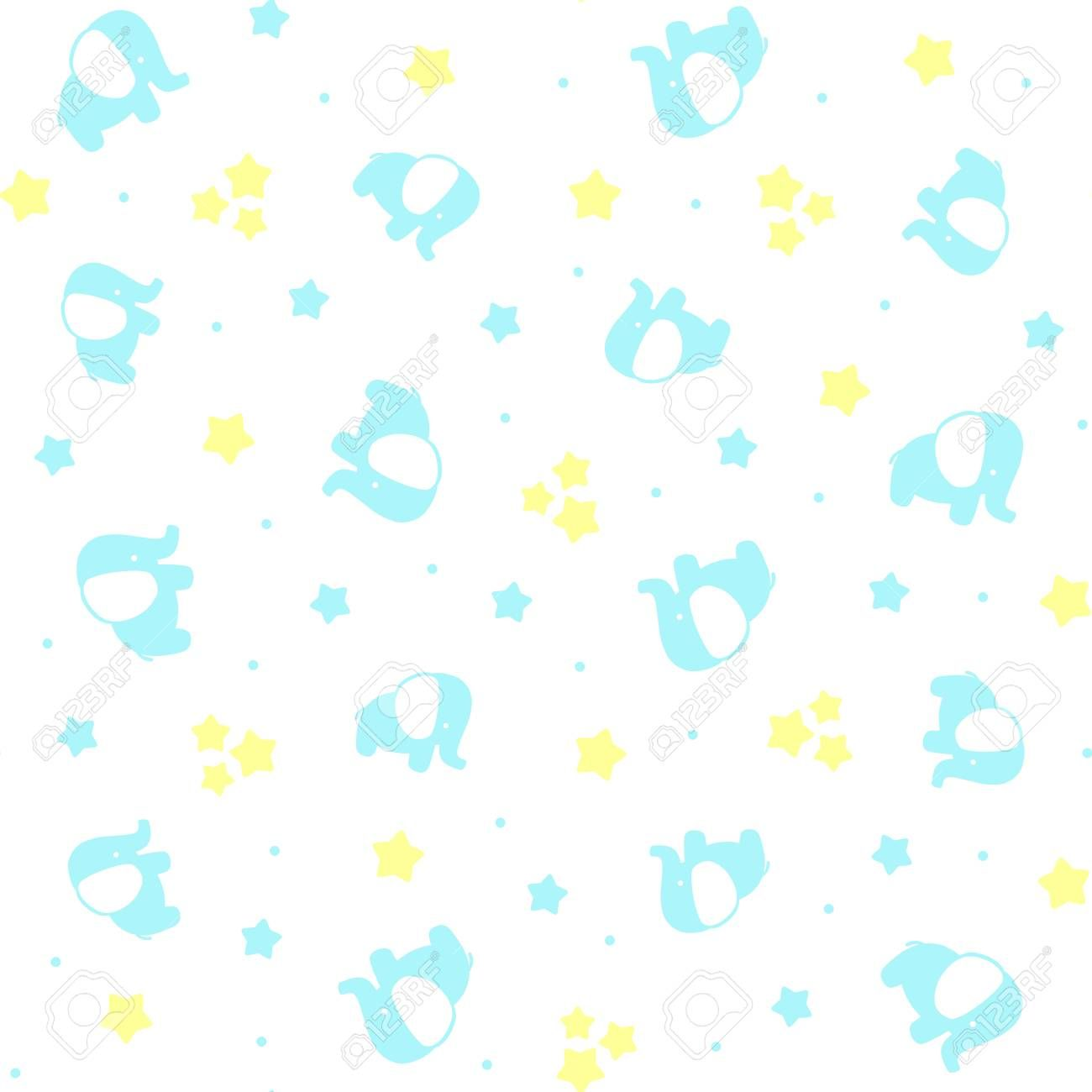Cute Baby Elephants Seamless Pattern With Stars And Dots On White Background Design For Baby Boy And Children Cute Baby Elephant Baby Elephant Cute Babies