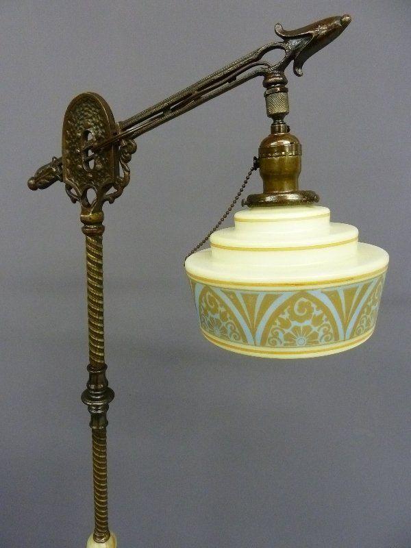 Circa 1920 Art Deco Brass, Onyx and Cast Iron Gooseneck Floor Lamp ...