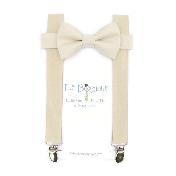 Ivory Bow Tie and Ivory Suspenders Men's by TheBoytiqueExpress