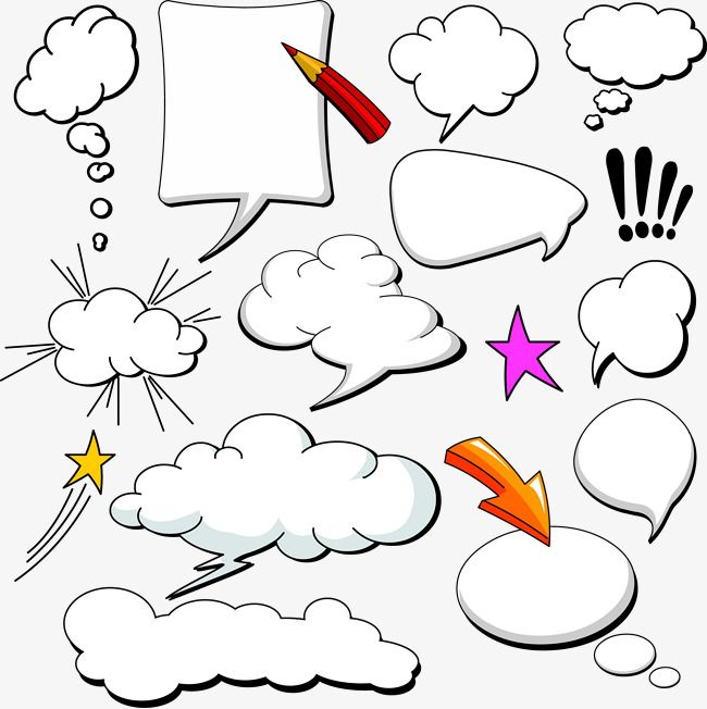 action cartoon bubbles clip art