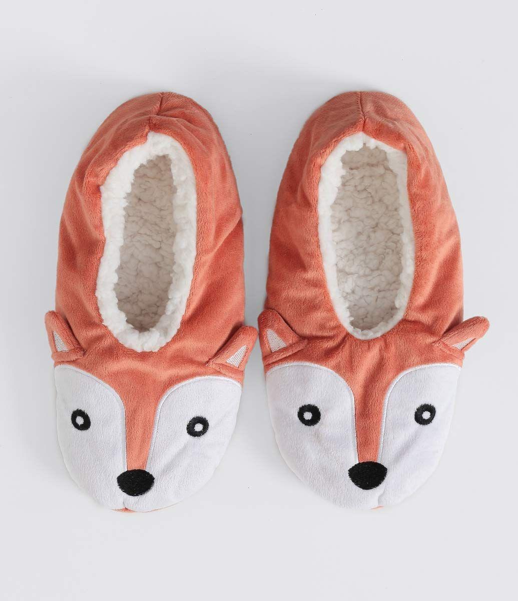 b4e6609b5cc478 Meia feminina Modelo pantufa Estampa de raposa Forro de pelinhos ...