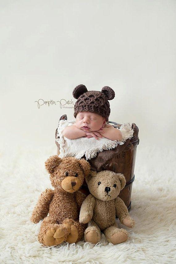 Neugeborenen Bär Hut häkeln, Brauner Bär Baby Mütze, Baby tragen, Neugeborene Hut braun Hüte #crochetbear