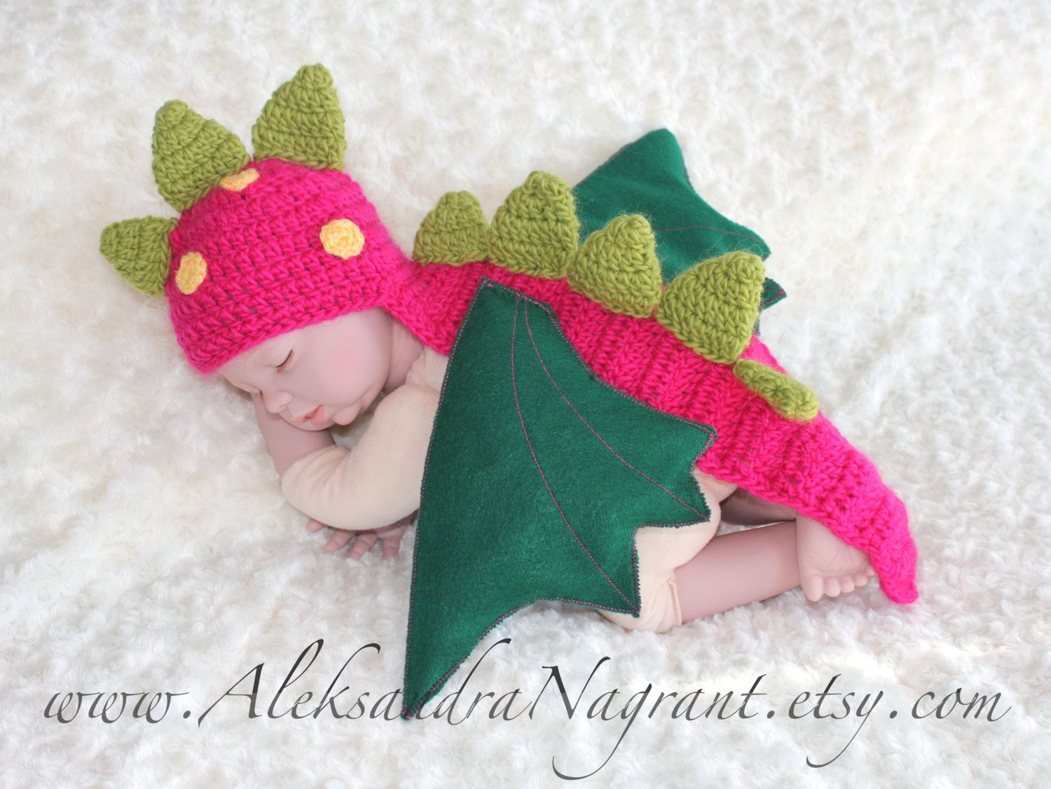 DRAGON/ DINOSAUR Baby Costume - wool/ acrylic - photo prop - Made To ...