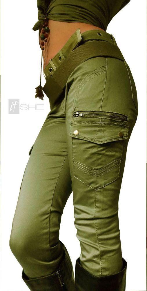 If She Neu Damen Hose Army Safari Cargo Militaryreissverschluss Stretch Baumwolle Cargo Hosen Damen Safari Kleidung Damen Damen