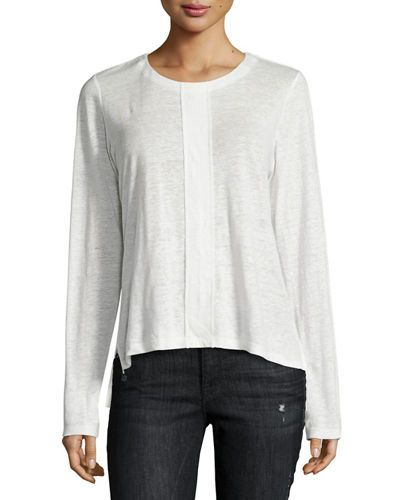 FRAME Paneled Linen Long-Sleeve Tee, White. #frame #cloth # | Frame ...