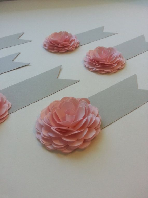 Paper Flower Place Cards Name Cards Wedding Crafts Flower Place