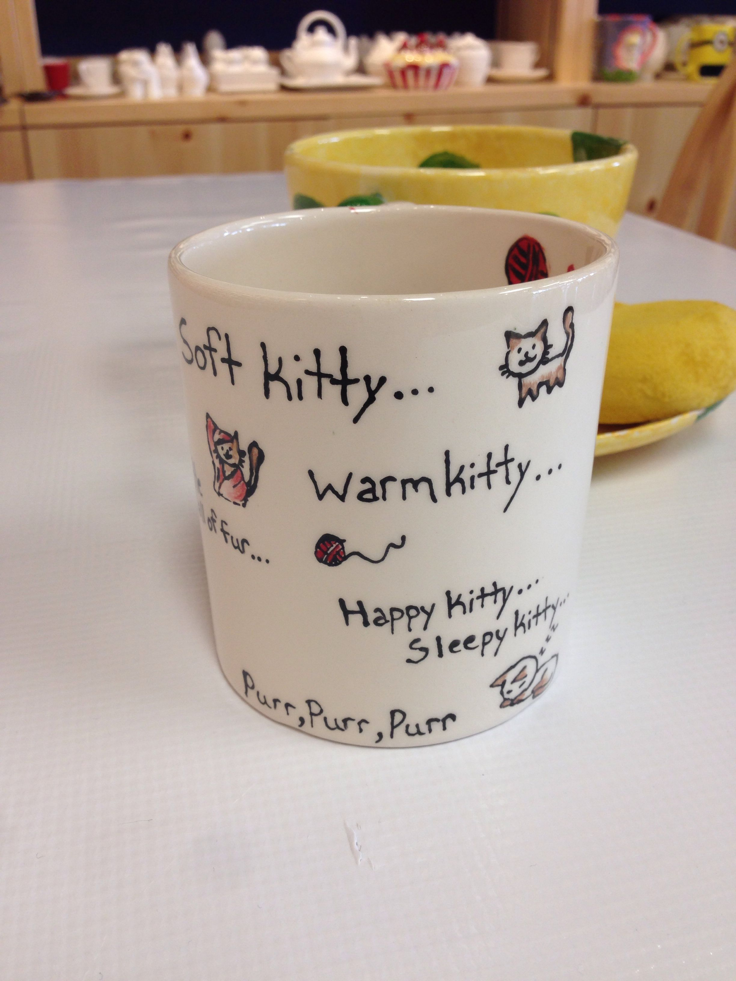 Cute kitty mug painted at color me mine pottery studio in