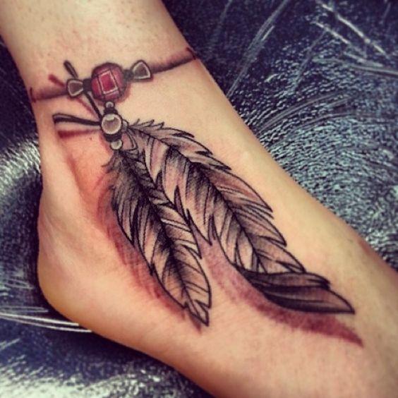tatouage cheville deux plumes et rubis tattoo pied tatouages cheville et pieds mod les et. Black Bedroom Furniture Sets. Home Design Ideas