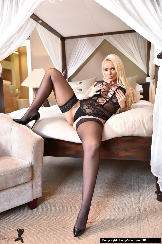 Busty blonde black stockings and high heels seems excellent