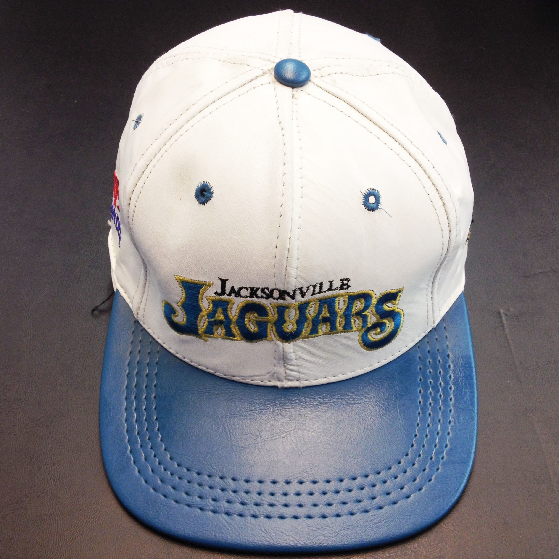 Jaguars Jacksonville Logo Team Nfl Baseball Leather Cap White Blue Leather Cap Sport Hat Jaguars