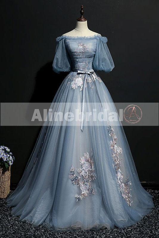 Vintage Prinzessin Schulterfrei Halbarm Blauer Himmel Appliques Ball Ballkleider PD00076 #tulleballgown