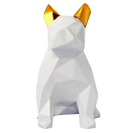 Mans Best Friend White and Gold Sculpture