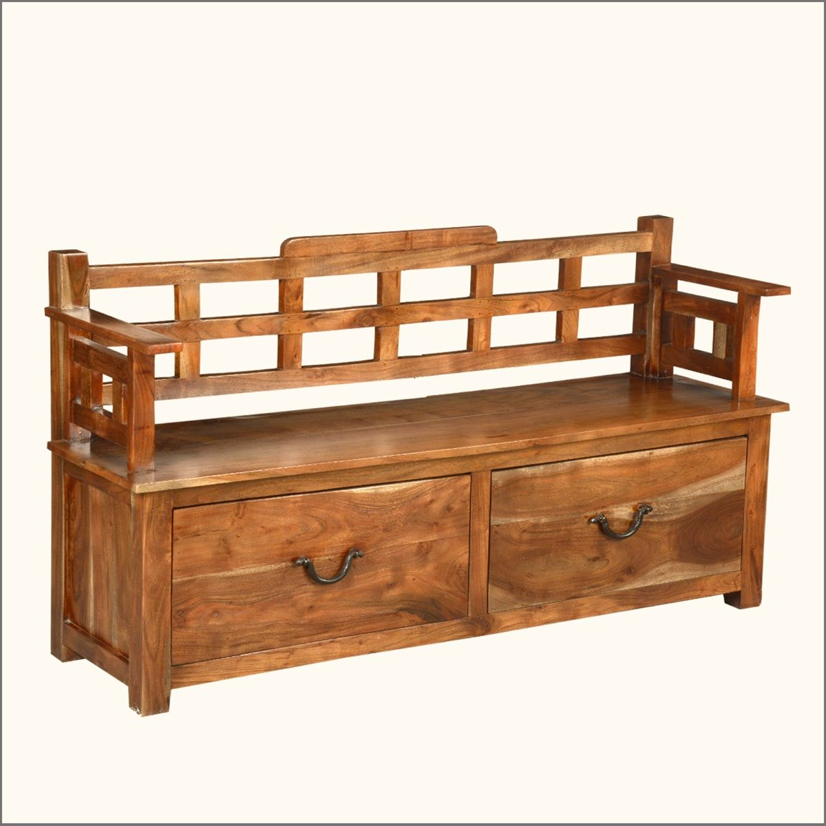 Handmade Cherry Finish Hardwood Storage Bench, Strong And Sturdy Rustic  Style With Two Large Storage Drawers And A Spacious Bench Style Top With  Side Arm ...