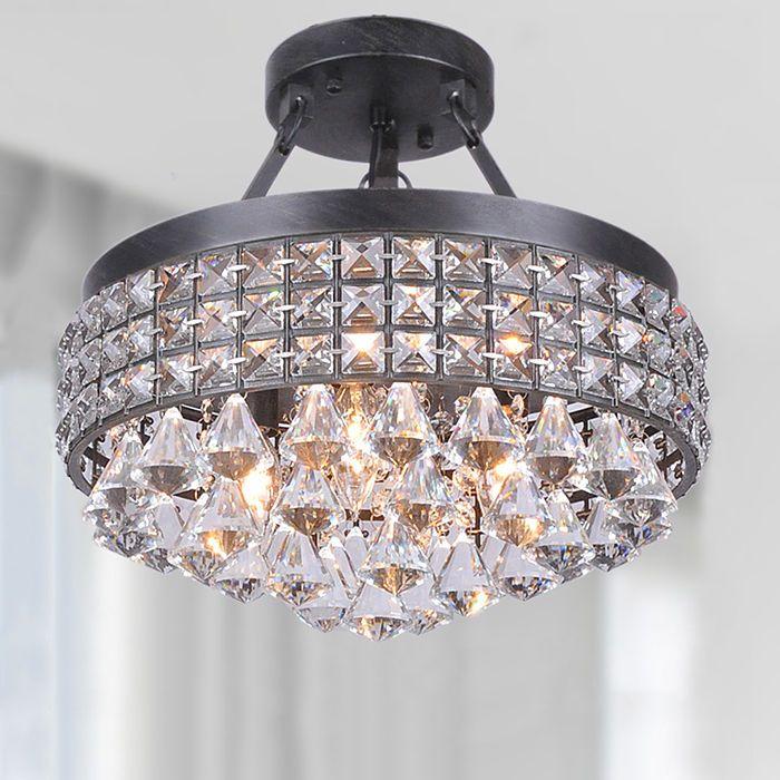 Modern 4 Light Crystal Chandelier Pendant Lamp Semi Flush Mount Ceiling  Lighting