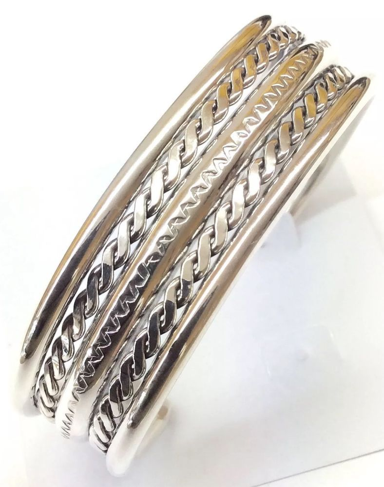 Native American Sterling Silver Navajo Indian Cuff Bracelet 45 5 Grams C090524 Nativeamerican