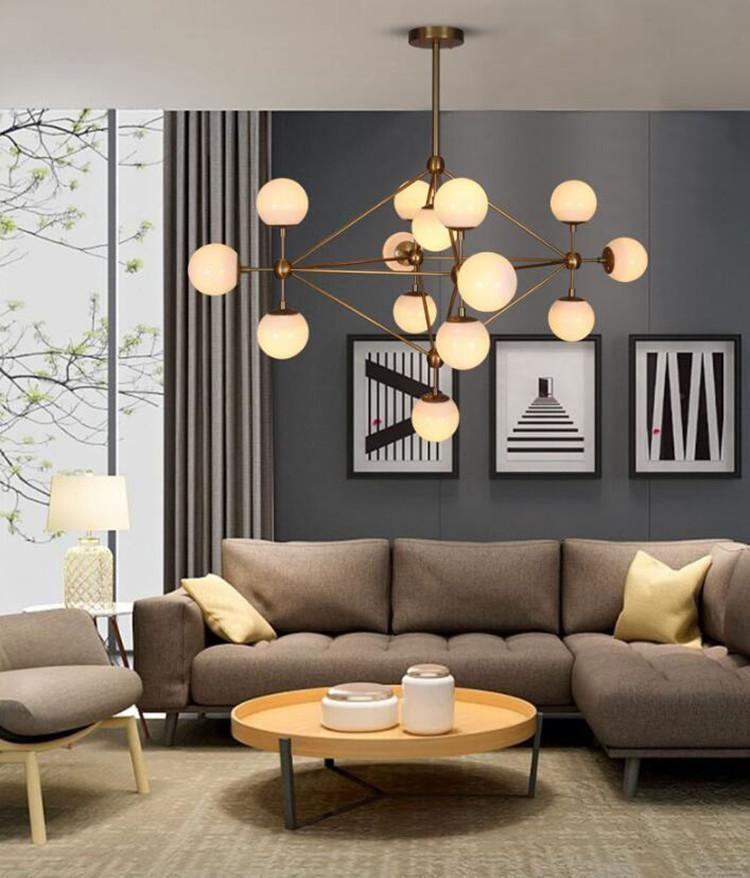 Nordic Led Globe Pendant Light Creative Glass Ball Chandeliers 3 5 10 15 21 Heads For Dining Room Bedro Living Room Designs Living Room Lighting Ceiling Lights