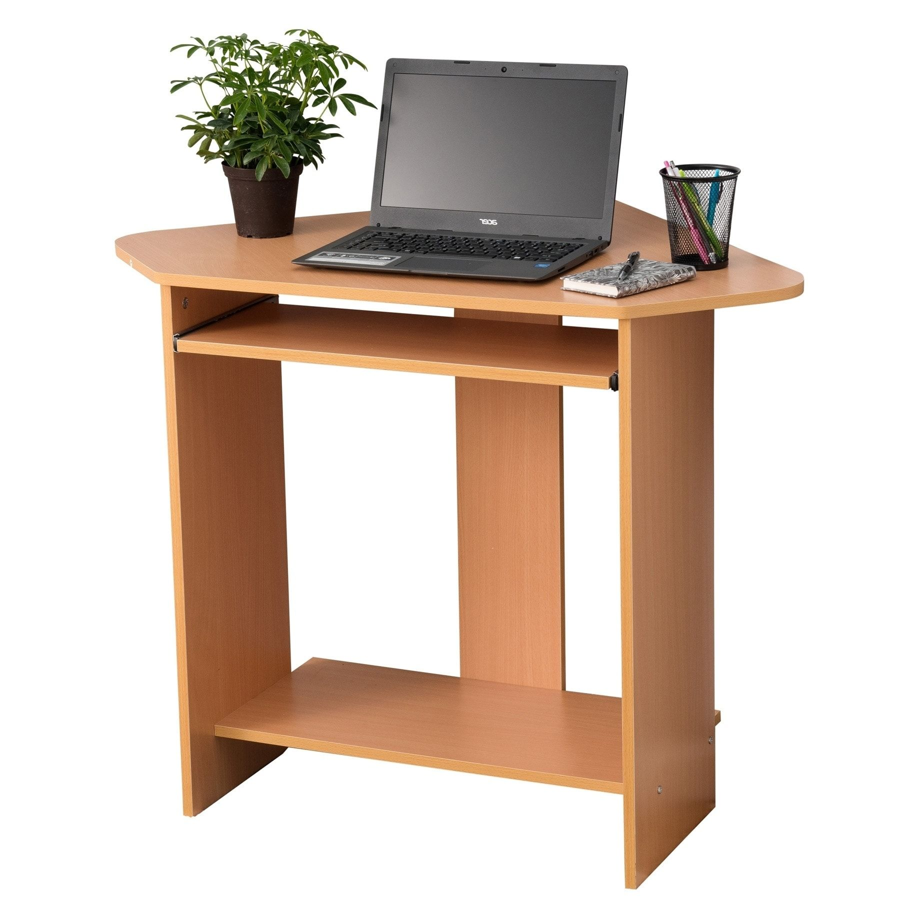Fineboard home office compact corner desk red walnut brown