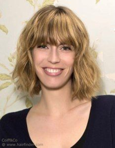 Mid Neck Length Bob Hairstyle With Wavy Messy Styling And Bangs