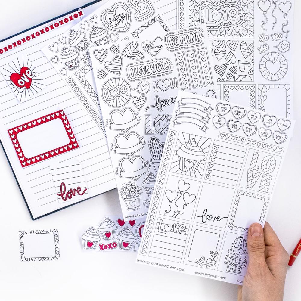 Valentine Sticker Pack Sarah Renae Clark Coloring Book Artist And Designer In 2020 Valentine Stickers Planner Stickers Sticker Paper Size