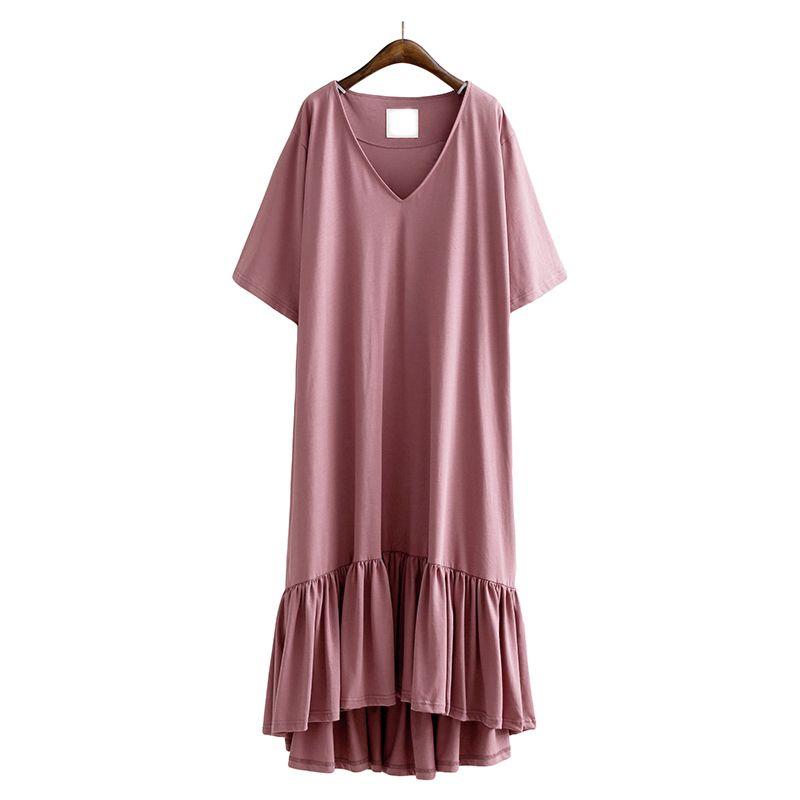 >> Click to Buy << [AZURE SHEN] Non-custom V Neck Solid Dress 2017 Casual Short Sleeve Dress For Ladies Loose Large Size Vestidos De Fiesta U14203 #Affiliate