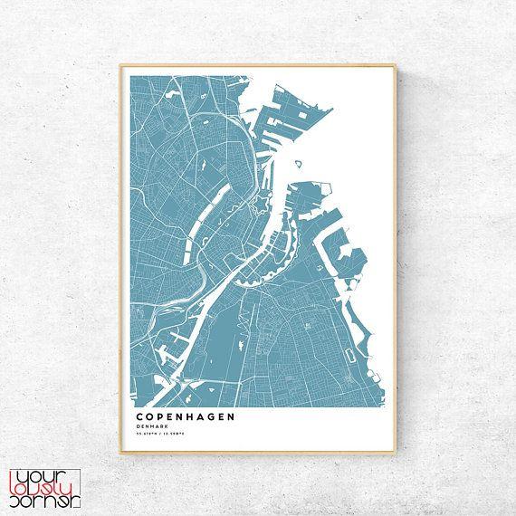 Copenhagen Map Print Kbenhavn City Map Poster Copenhagen Denmark