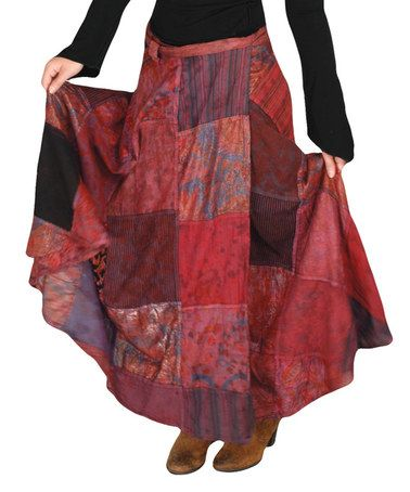 Look what I found on #zulily! Wine Tie-Dye Patchwork Maxi Skirt #zulilyfinds