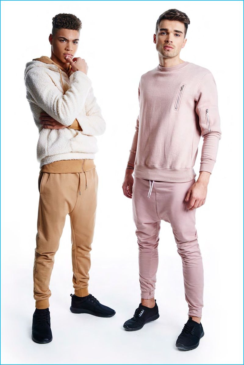 d13738c0ff Brian Whittaker and Josh Cuthbert model sporty styles from BoohooMAN's  fall-winter 2016 collection.