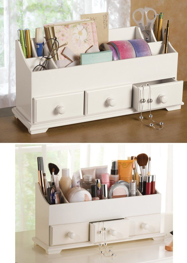 White 3 Drawer Desk Makeup Storage Organizer 5 3 4 L X 4 1 2 W