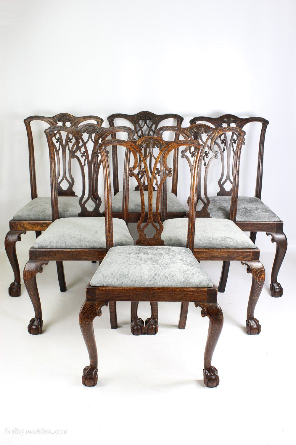 Set 6 Antique Edwardian Oak Chippendale