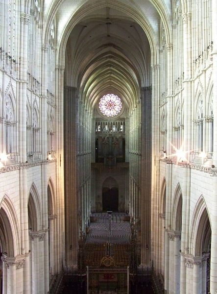 Medieval cathedral builders were trying to maximize the internal dimensions in order to reach for the heavens and bring in more light. In that regard, the Amiens cathedral is the tallest complete cathedral in France, its stone-vaulted nave reaching an internal height of 42.30 metres  http://wp.me/p4LjJr-fy