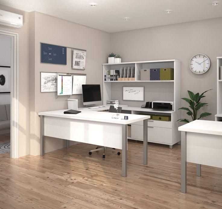Modern White U Shaped Office Desk With Hutch // Home Office, Clean Modern  Office, Office Inspiration, Minimalistic, Minimalism