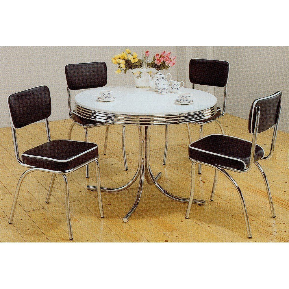 Vintage Table 4 Chairs Chrome Kitchen