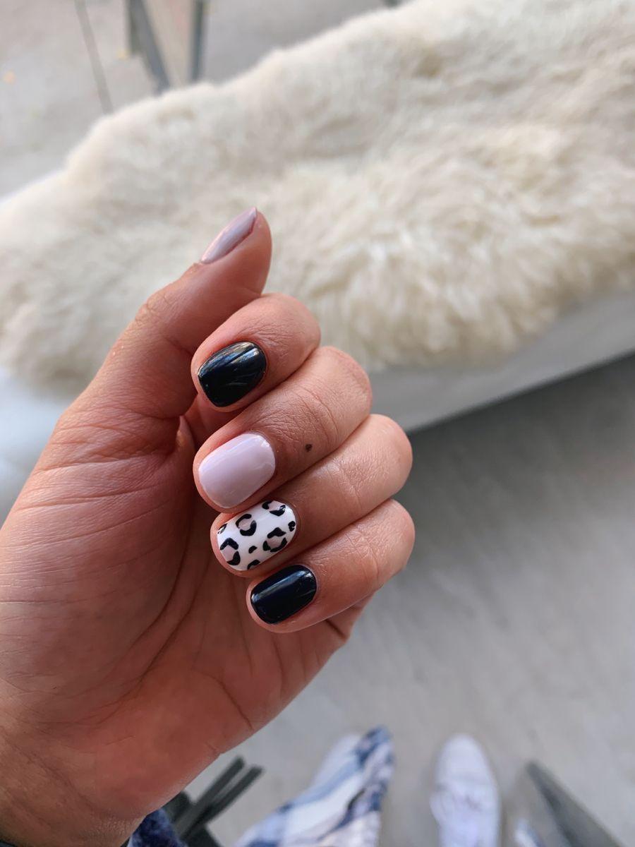 Leopard Accent Nail #fallnails #leopardnails #nailideas #accentnails #shellac #manicure