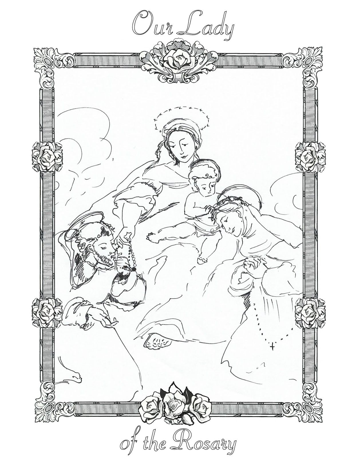 Life, Love, & Sacred Art: FREE Our Lady of the Rosary Coloring Page ...