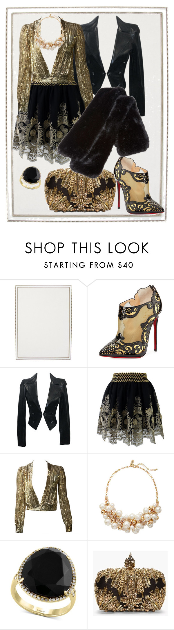 """""""Black elegant style"""" by sirps ❤ liked on Polyvore featuring Haffke, Christian Louboutin, Chanel, Chicwish, The Limited, Effy Jewelry, Alexander McQueen and Carven"""